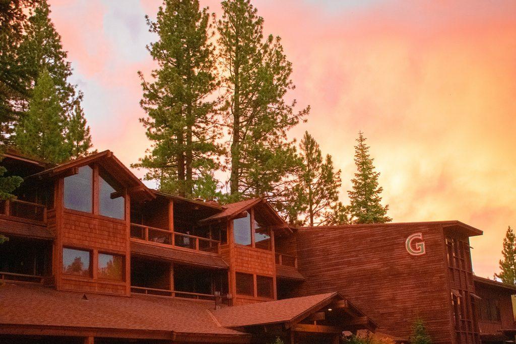 A summer sunset at Granlibakken Hotel in Tahoe City