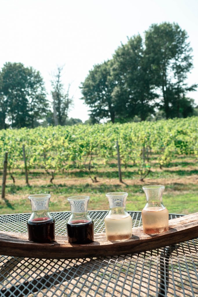 A wine flight at Greenvale Vineyards in Newport