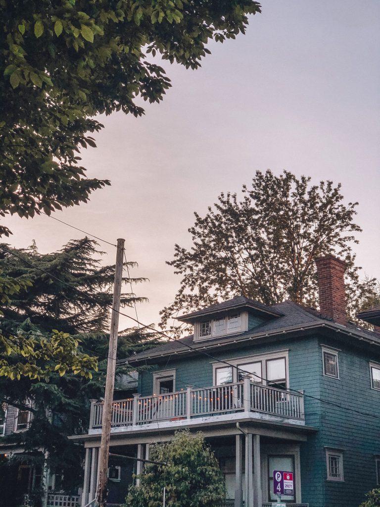 Beautiful Portland house during sunset