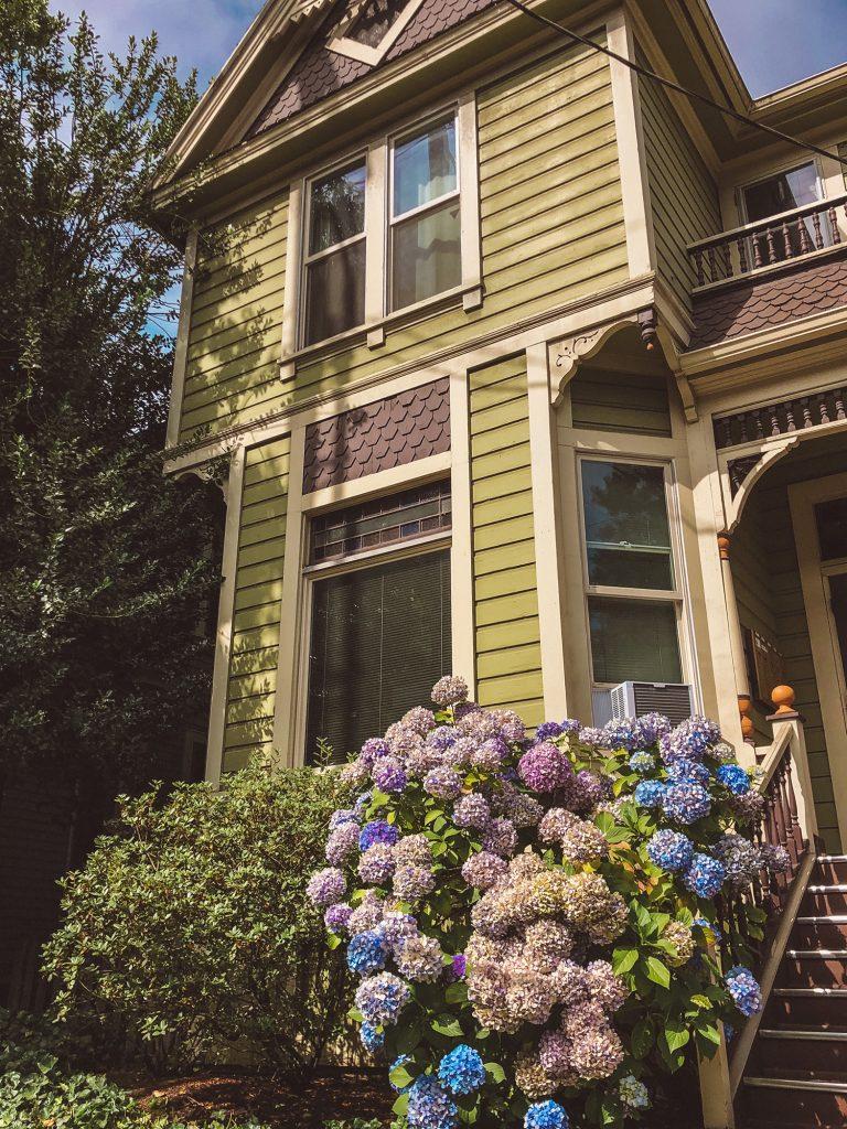 A beautiful house in Portland, Oregon with hydrangeas