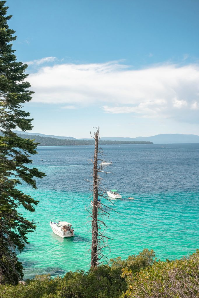 Boats on the water in Lake Tahoe