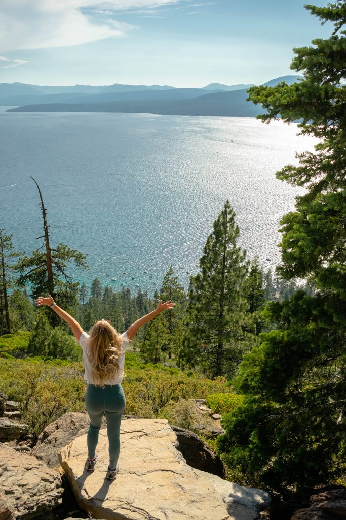 A woman having fun on a hiking trail in North Lake Tahoe