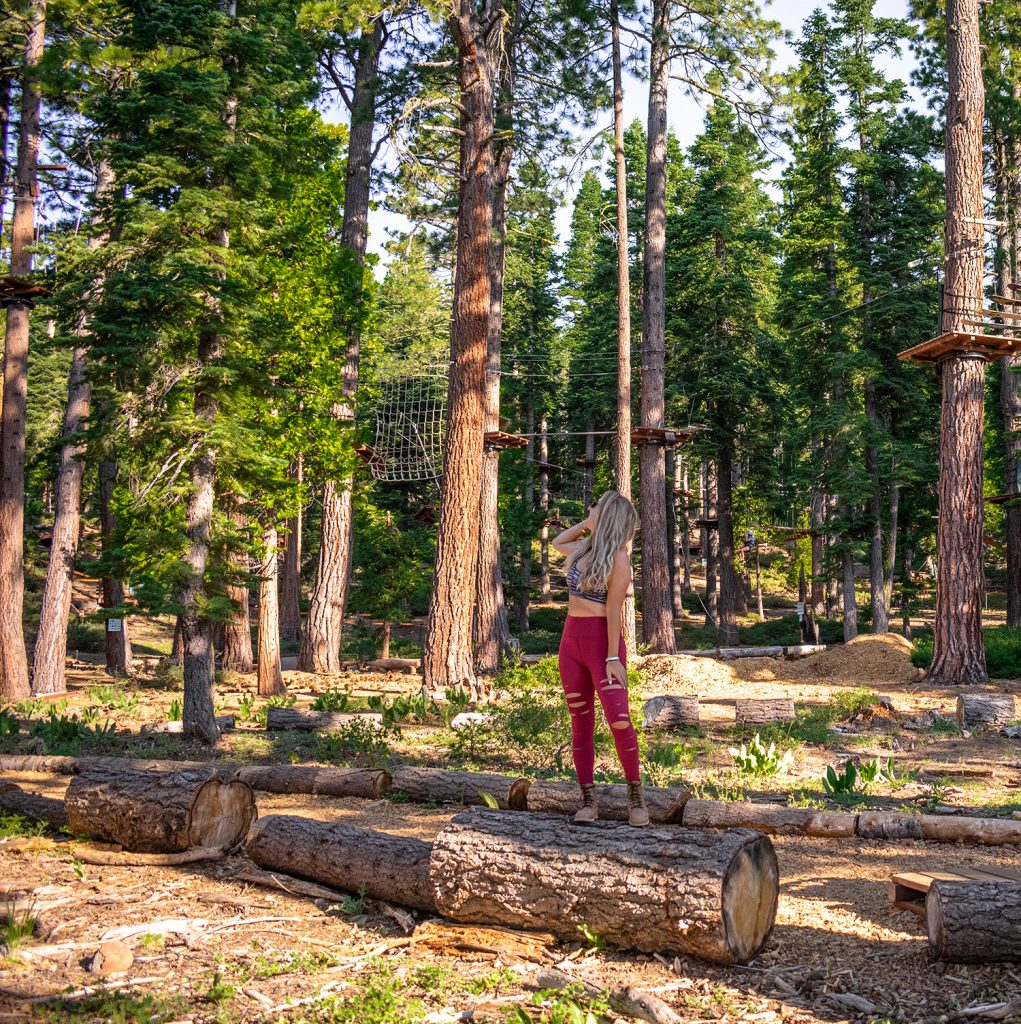 A woman at an adventure park in Tahoe City