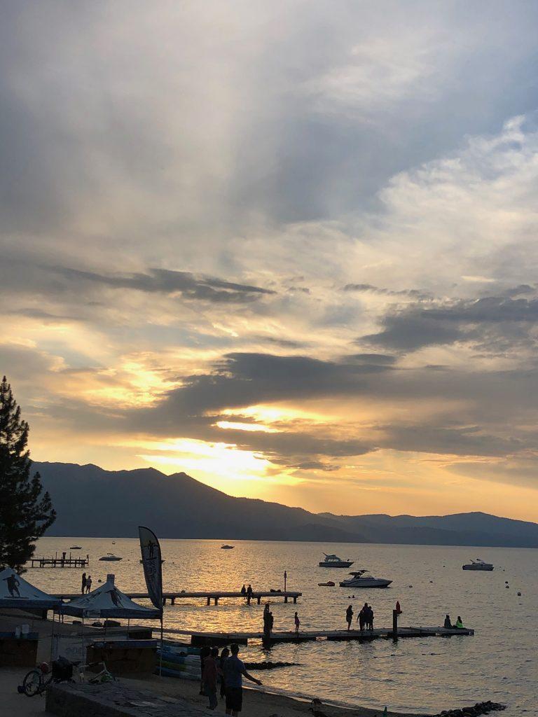 A summer sunset at El Dorado Beach in South Lake Tahoe