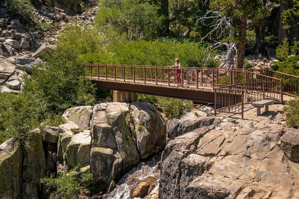 A woman on top of a bridge at Eagle Falls in Lake Tahoe