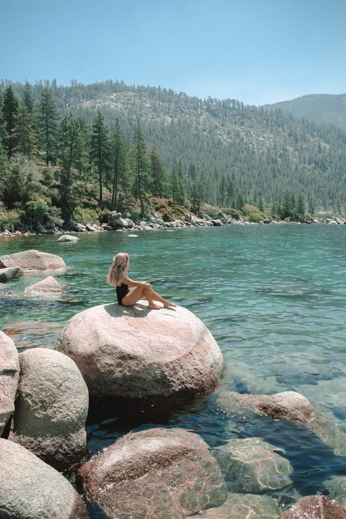 A woman enjoying a summer day in Lake Tahoe, Nevada