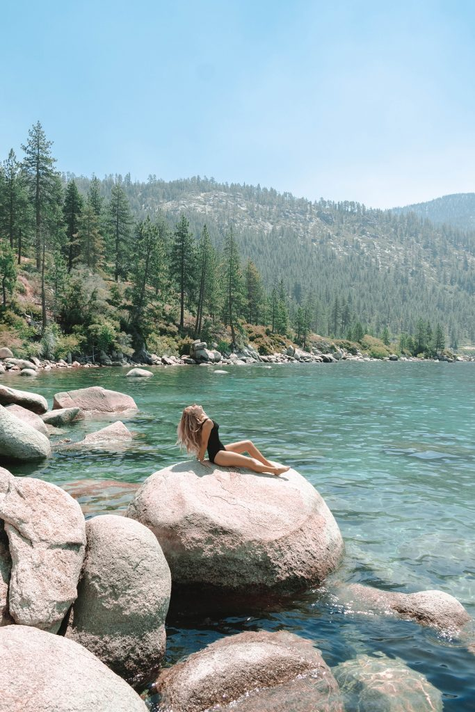 A woman enjoying the sun in Lake Tahoe