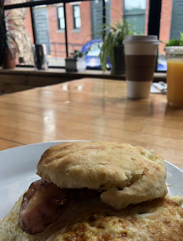 A biscuit breakfast sandwich from a cafe in Newport, RI