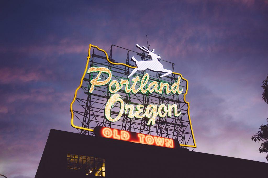 Portland iconic sign at night