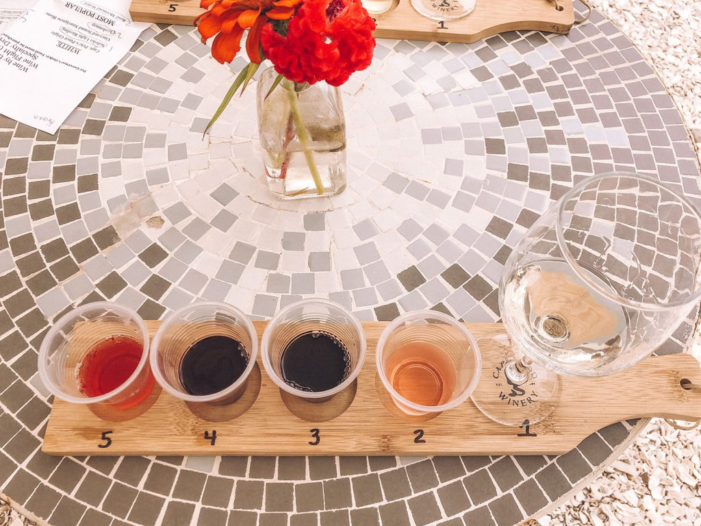 A wine flight from Cape Cod Winery