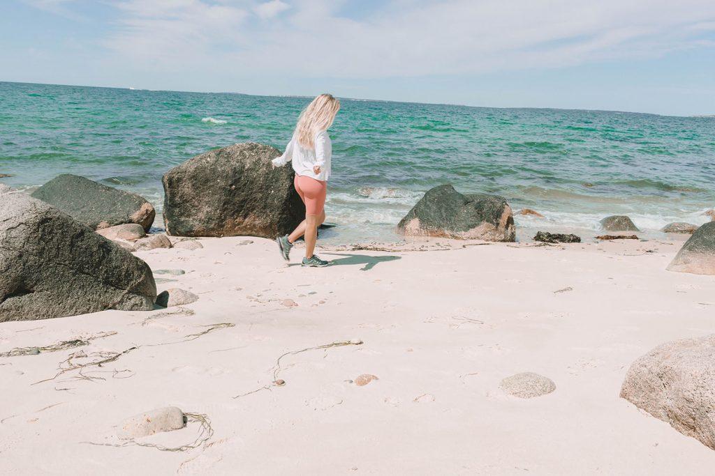 A woman on the beach in Martha's Vineyard
