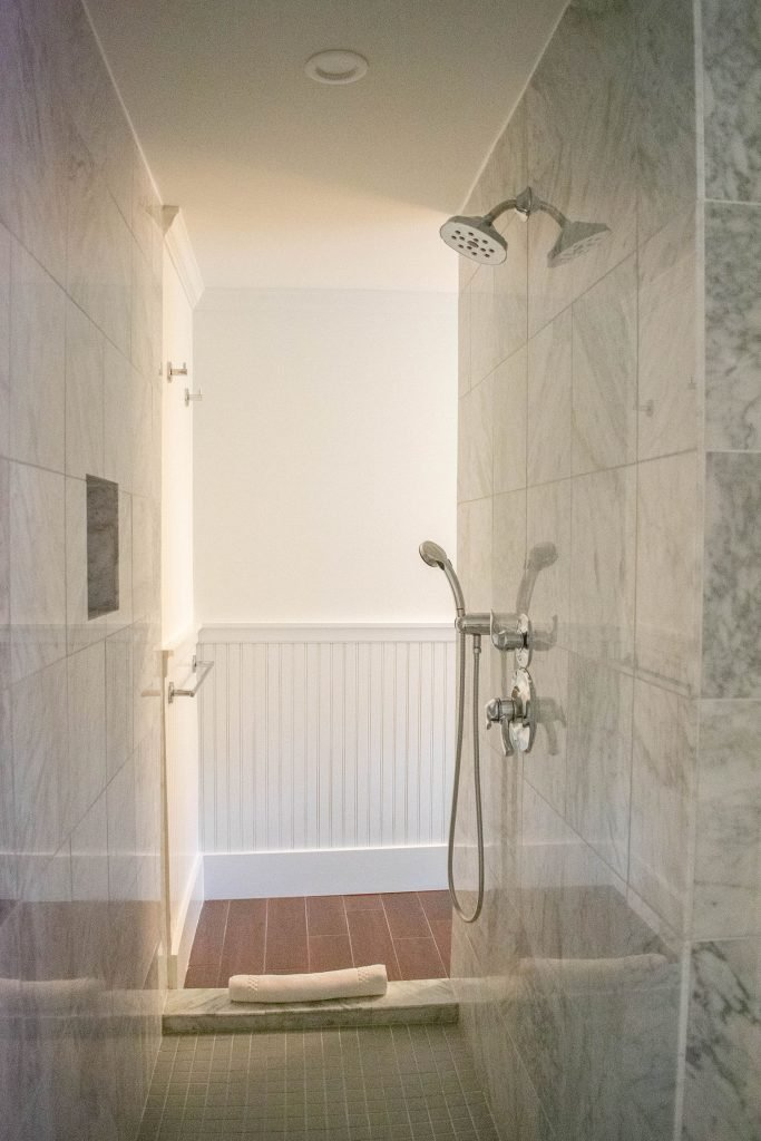The marble shower at Nobnocket Boutique Inn