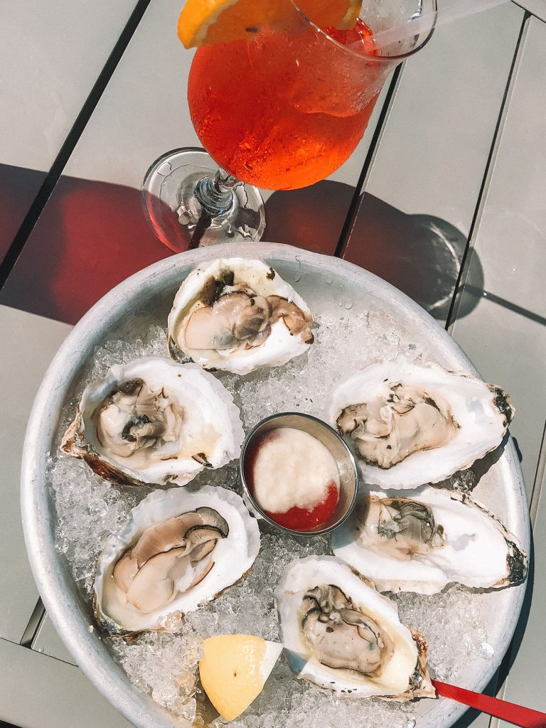 Oysters and an Aperol Spritz from The Seafood Shanty