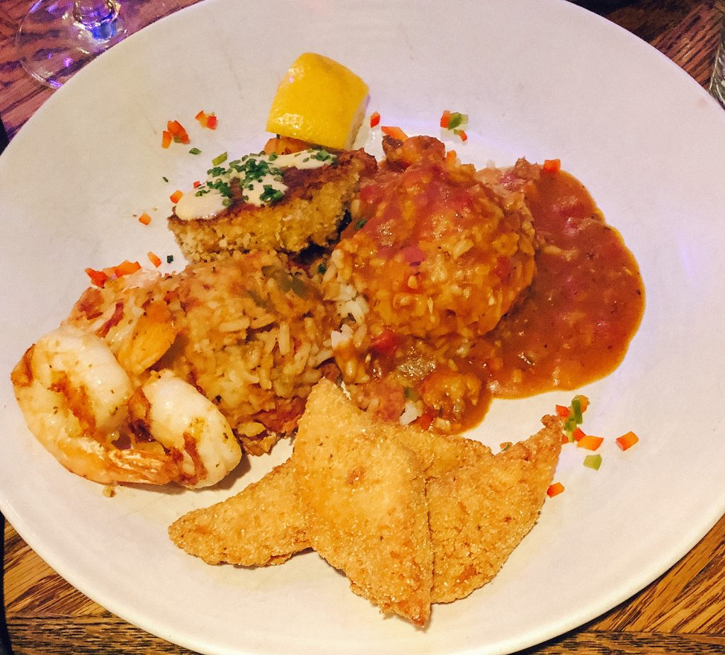 A cajun dinner from Tupelo Grille in Whitefish, Montana