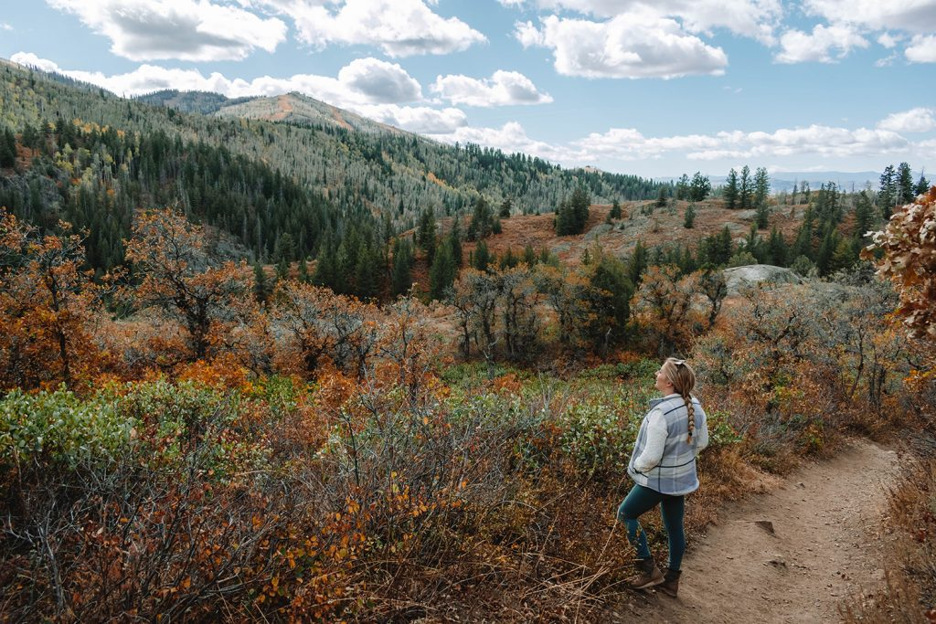 A woman enjoying the fall foliage in Steamboat Springs, Colorado