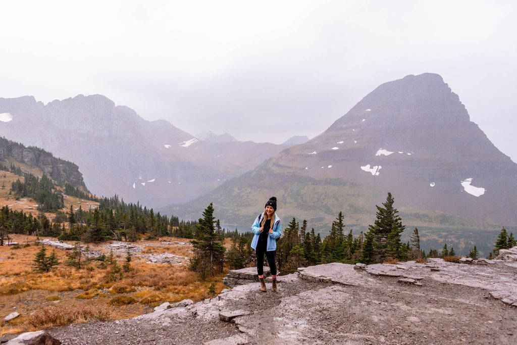 A woman having a great hike in Glacier National Park