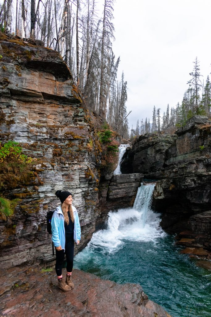 A woman on the St. Mary Falls hike in Glacier National Park