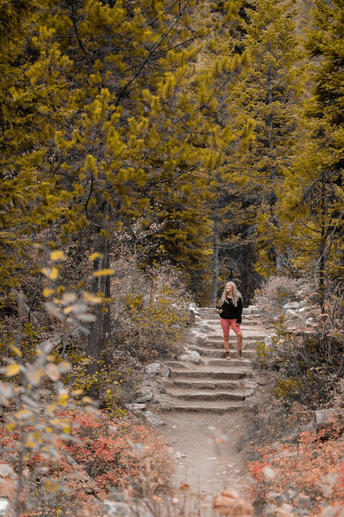 A woman enjoying a hike in Grand Teton National Park