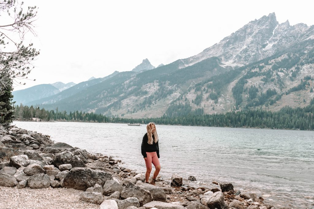 A woman hiking in Grand Teton National Park