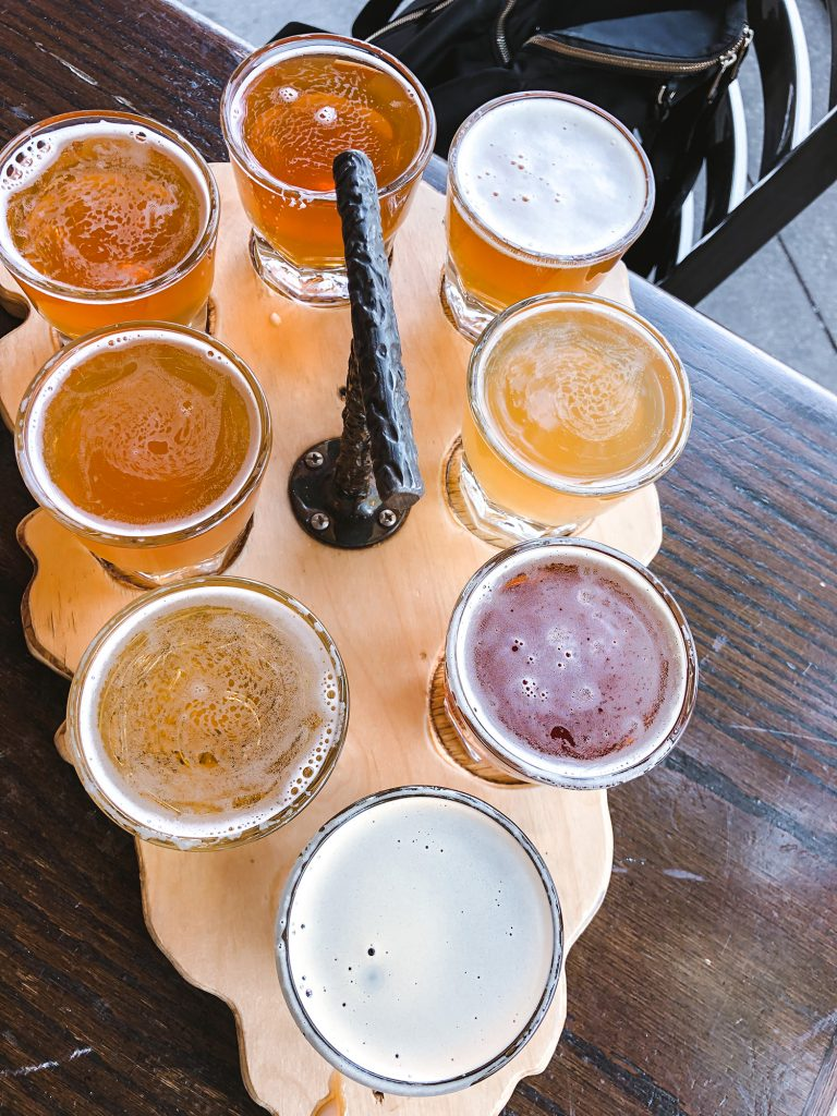 Craft beers from a brewery in Missoula during the best Montana road trip