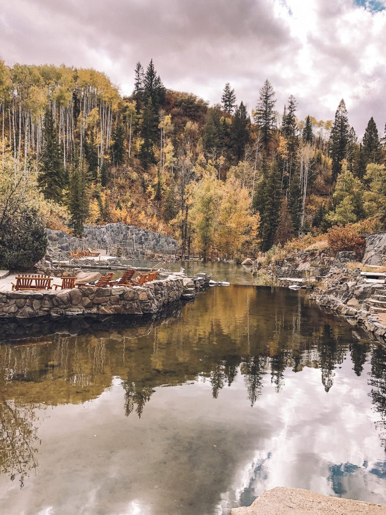 Beautiful fall foliage at Strawberry Park Hot Springs in Steamboat Springs