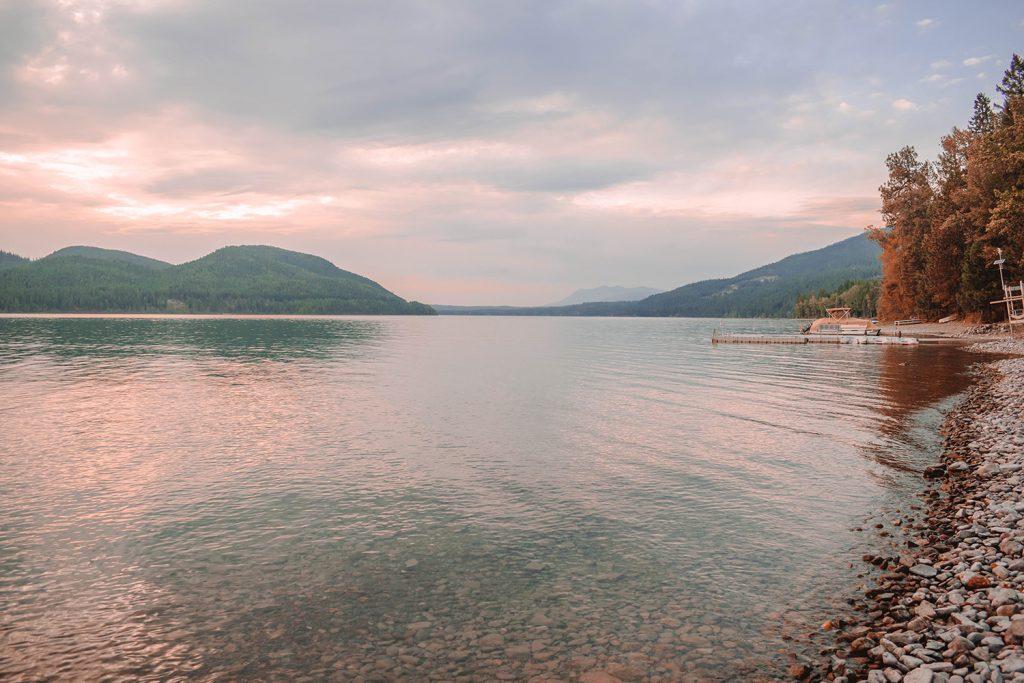 A beautiful sunset in Whitefish Lake