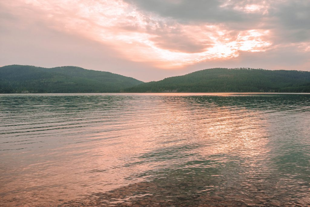 Sunset views of Whitefish Lake