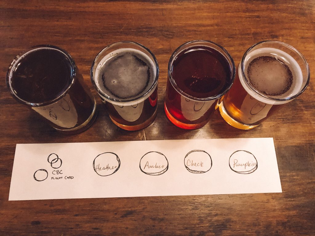A craft beer flight from Cambridge Brewing during a girls weekend in Boston