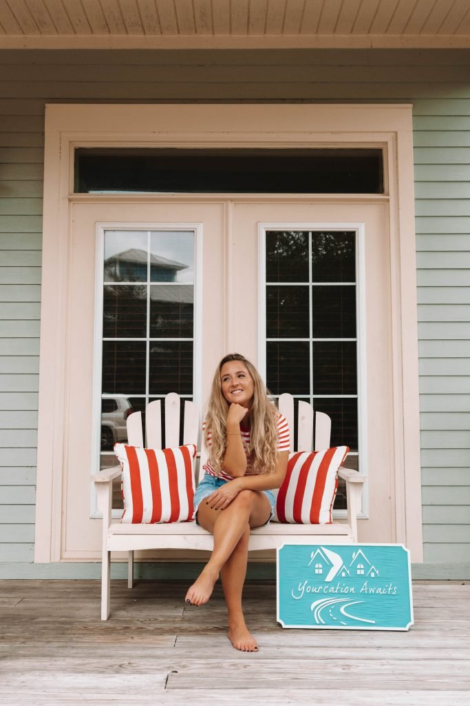 A woman enjoying her time at Yourcation Awaits in Rosemary Beach, 30a