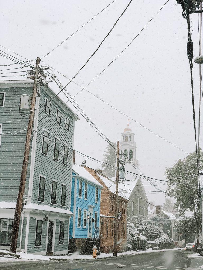 A snowstorm in Marblehead, Massachusetts