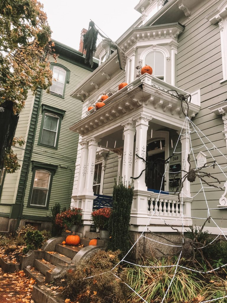 A house decorated for Halloween in Salem
