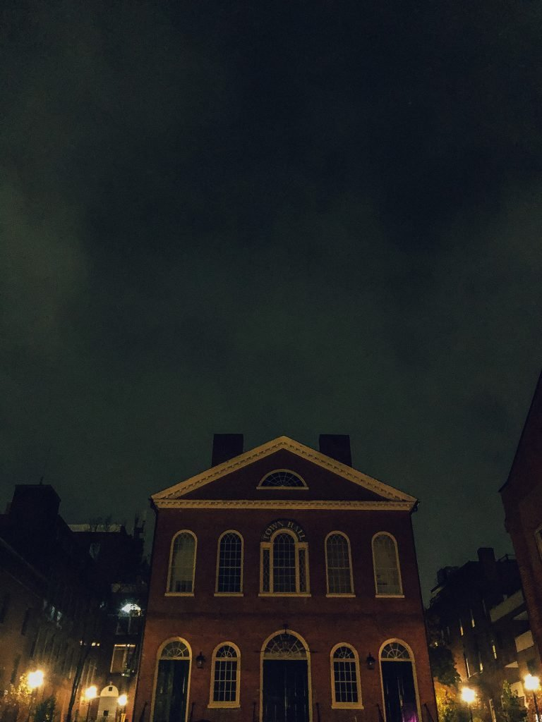 Old Town Hall in Salem during a ghost tour around Halloween
