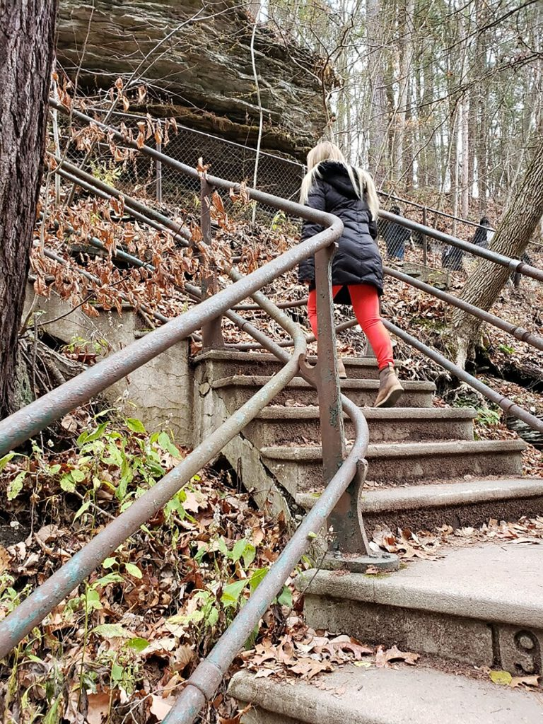 A woman hiking Watkins Glen in the Finger Lakes