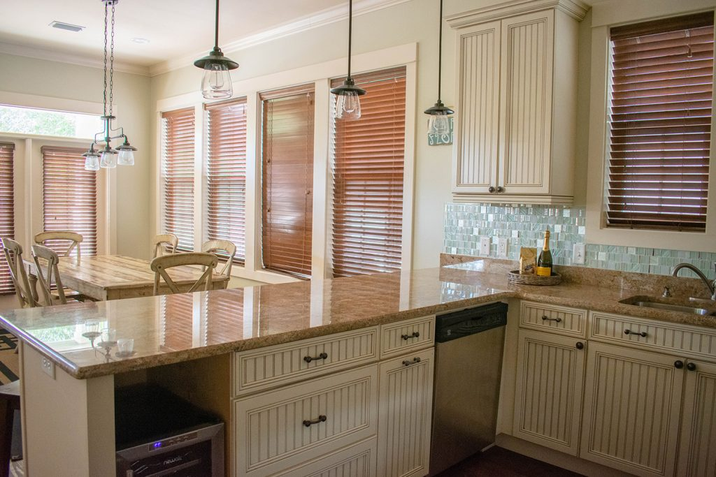 The kitchen at Yourcation Awaits rental home in Rosemary Beach