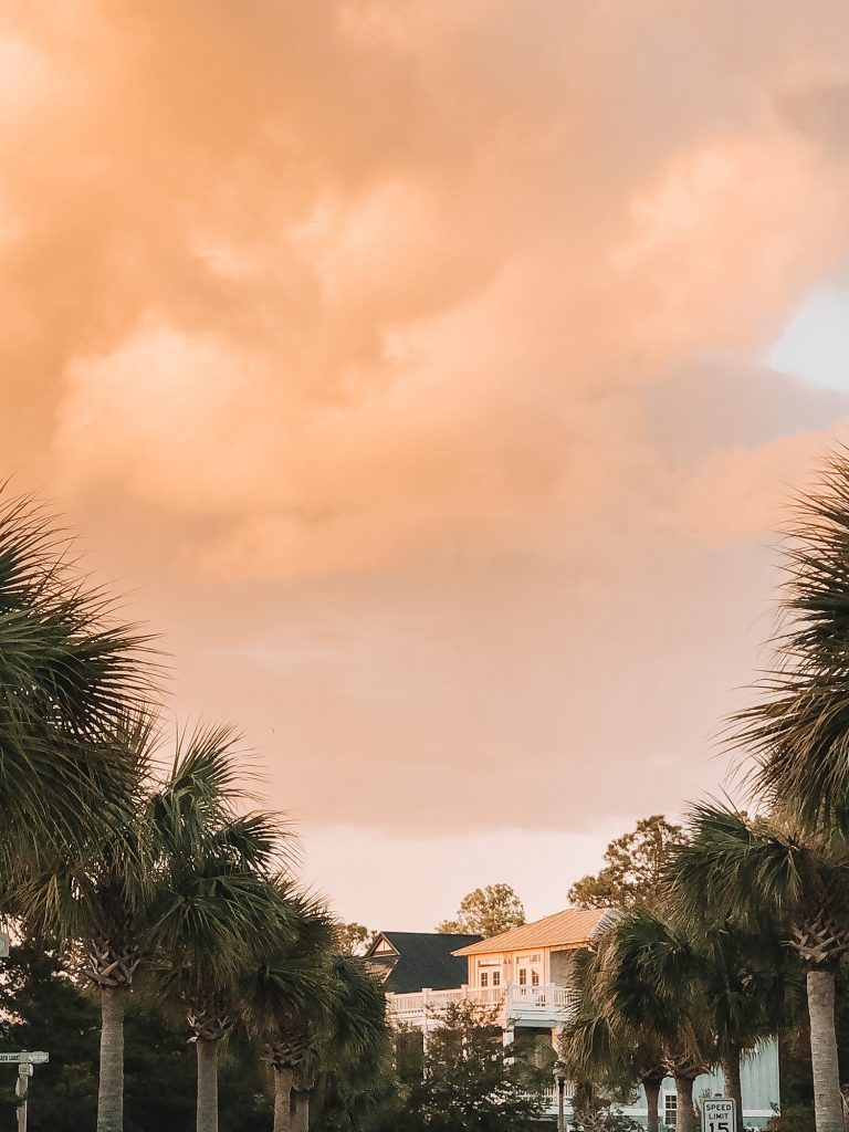 A sunset at Yourcation Awaits in Rosemary Beach, Florida