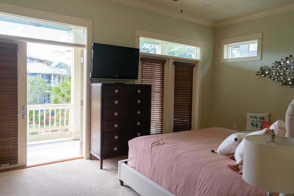 The master bedroom in Yourcation Awaits Rosemary Beach house