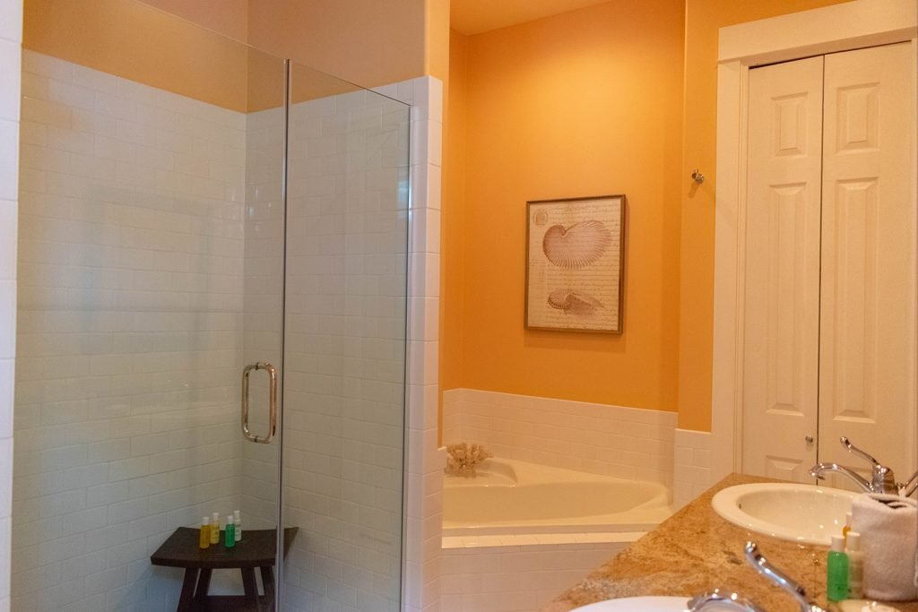 A master bathroom at Yourcation Awaits rental home in 30a