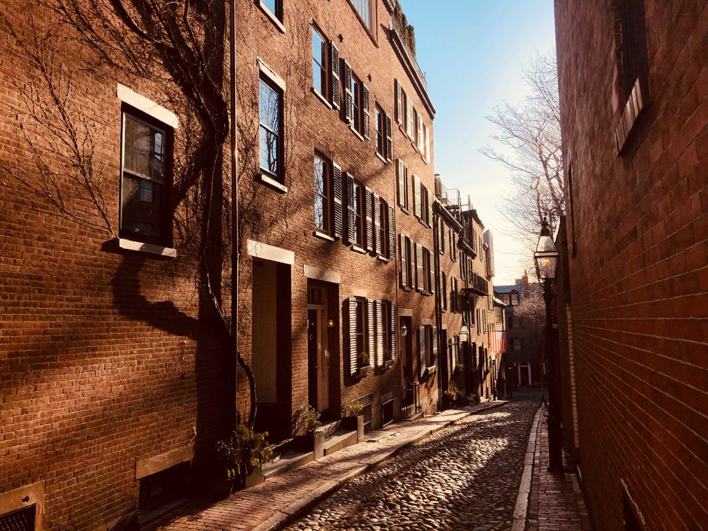 Beacon Hill alley during fall in Boston