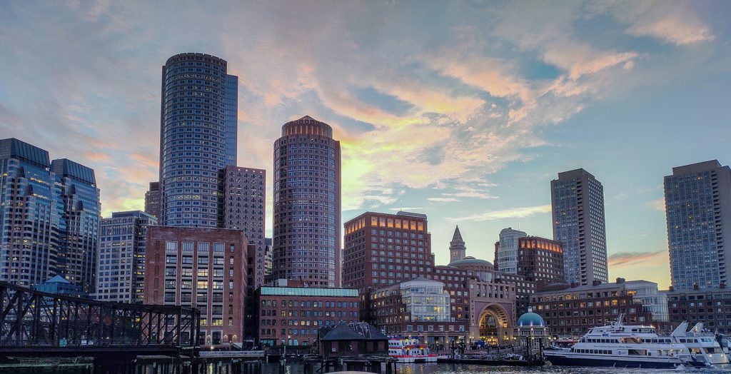 Boston Harbor during sunset