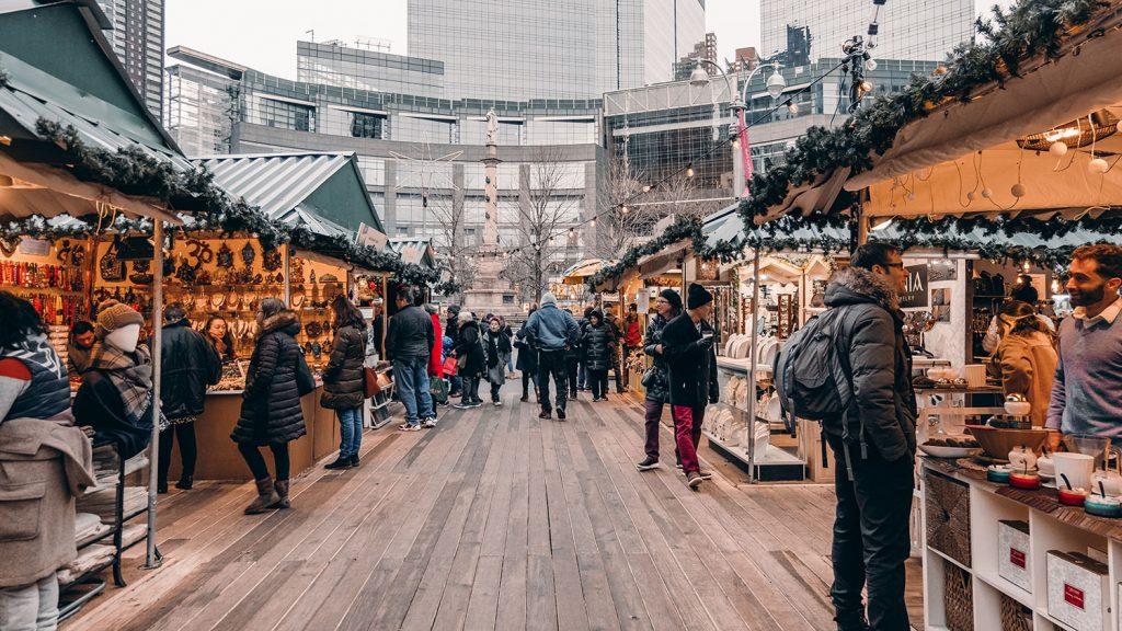 The holiday market at Columbus Circle in NYC