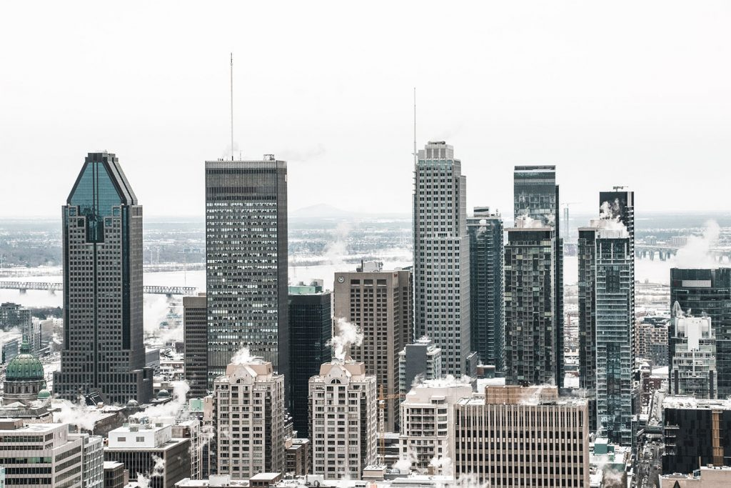 The city of Montreal, Quebec during winter