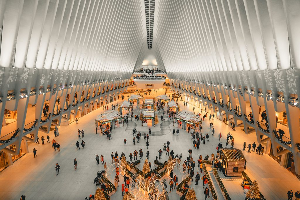 The Oculus at World Trade Center during Christmastime