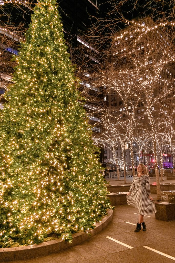 A woman admiring the Christmas light display in Zuccotti Park