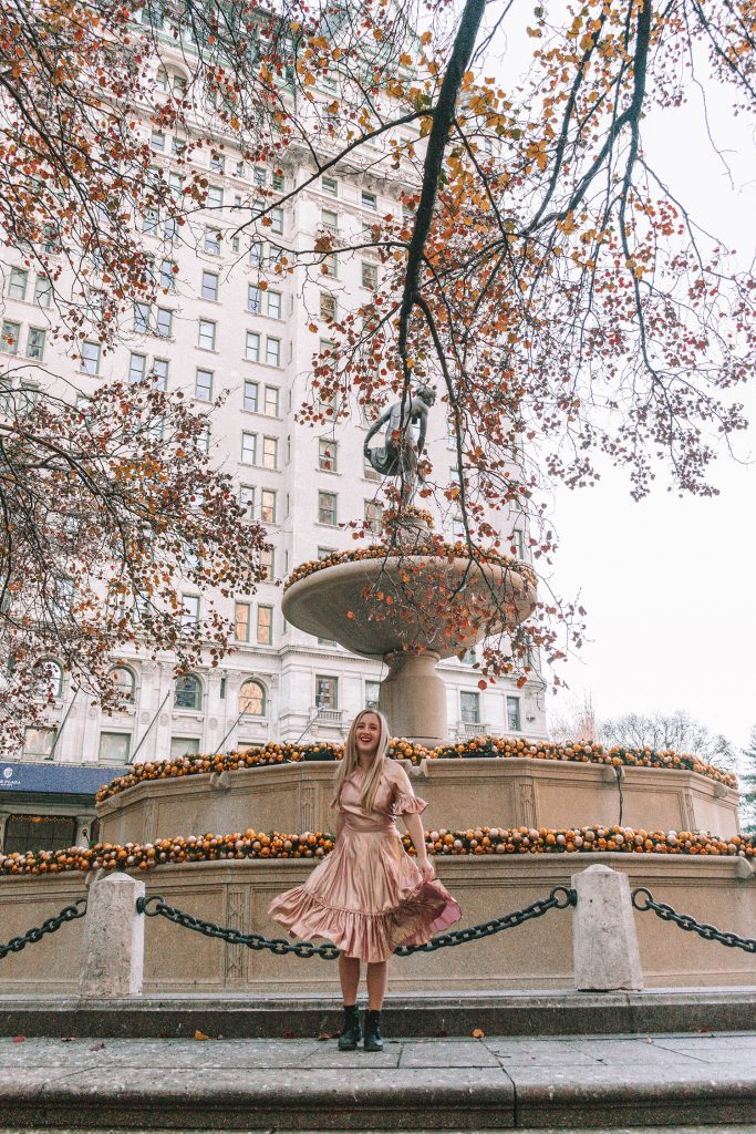 A woman in front of The Plaza Hotel in NYC