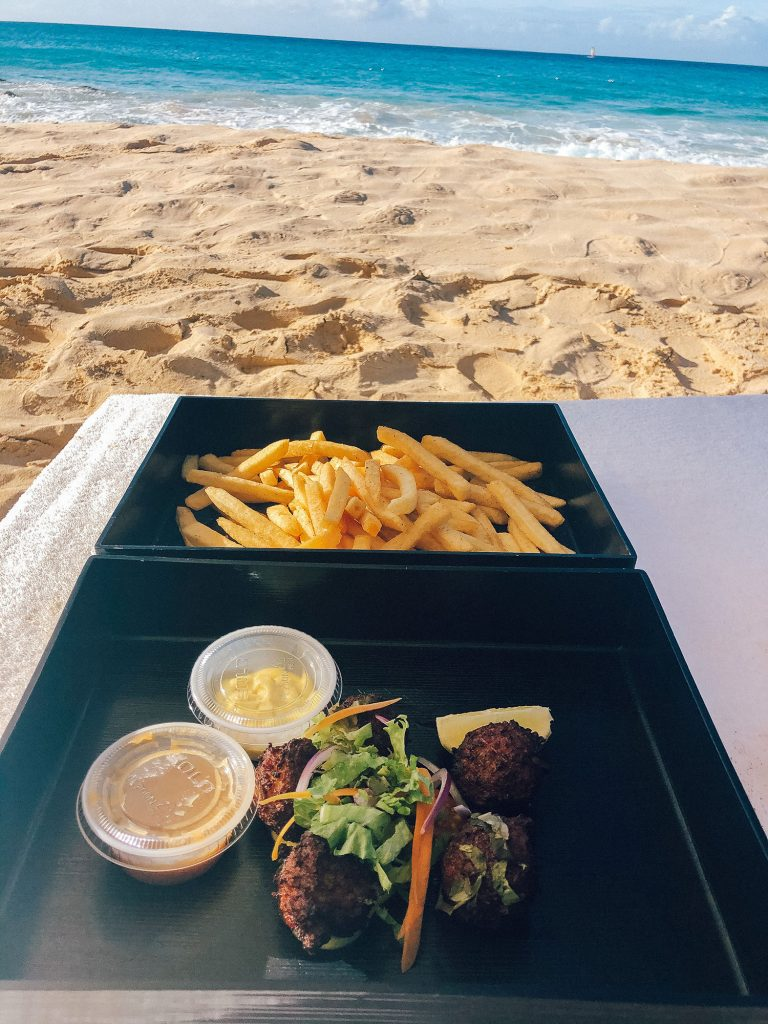 Conch fritters and fries from the best luxury beach resort in Anguilla
