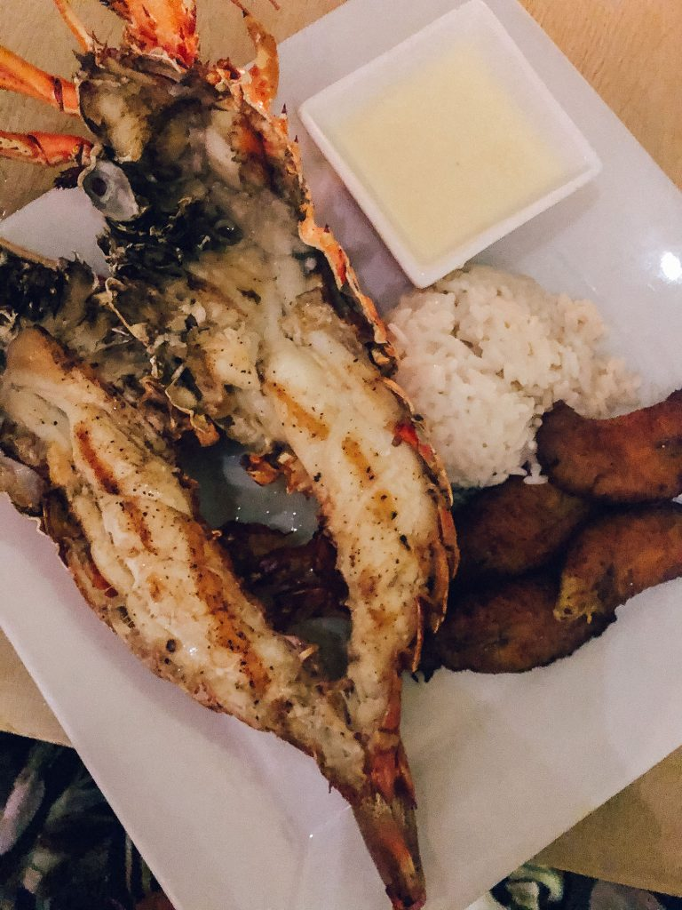 A lobster dinner from Straw Hat in Anguilla