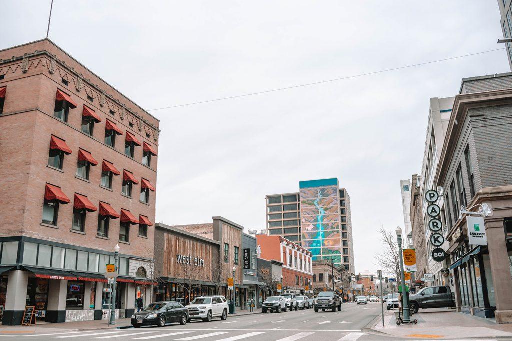 A shopping street in Boise, Idaho