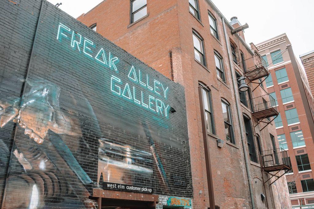Walking through Freak Alley Gallery in downtown Boise