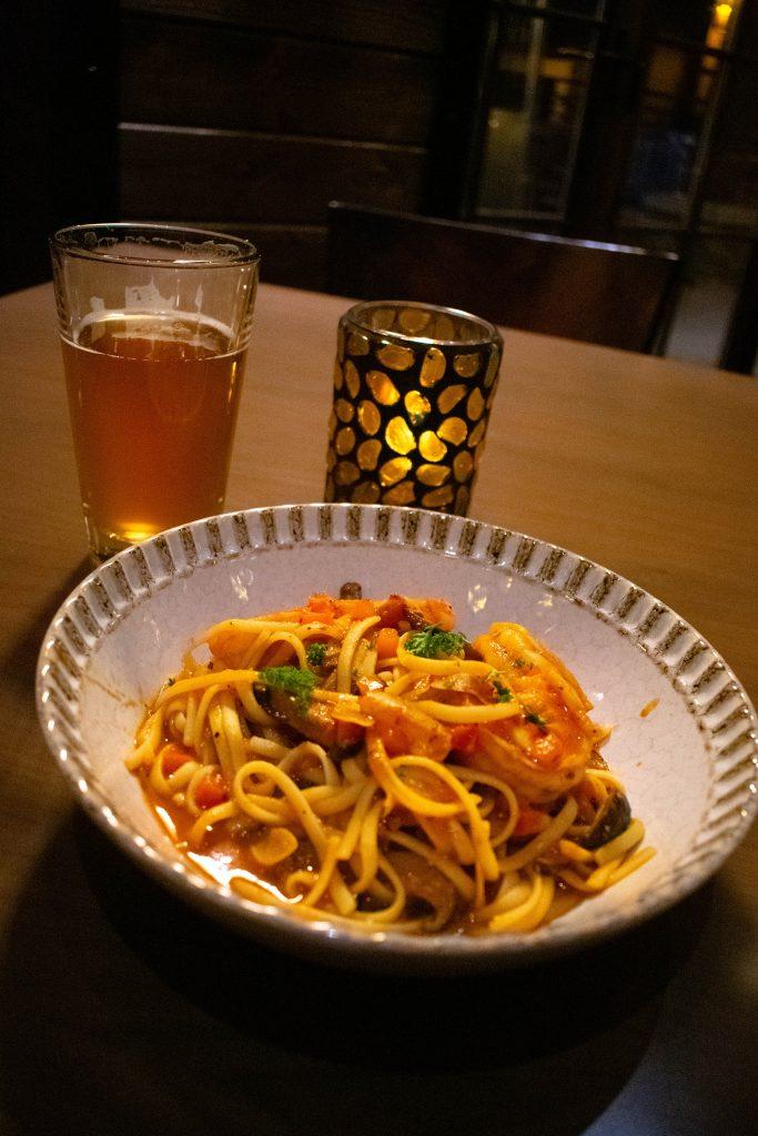 An Italian linguine and shrimp dinner