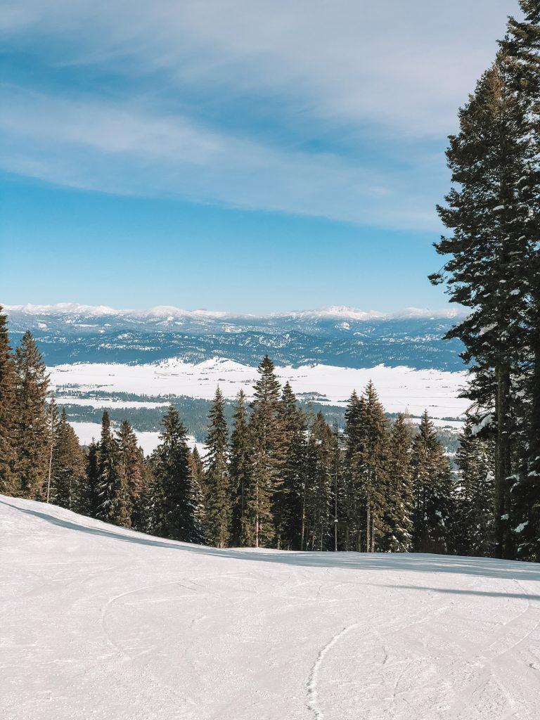 The views skiing at Tamarack in Idaho